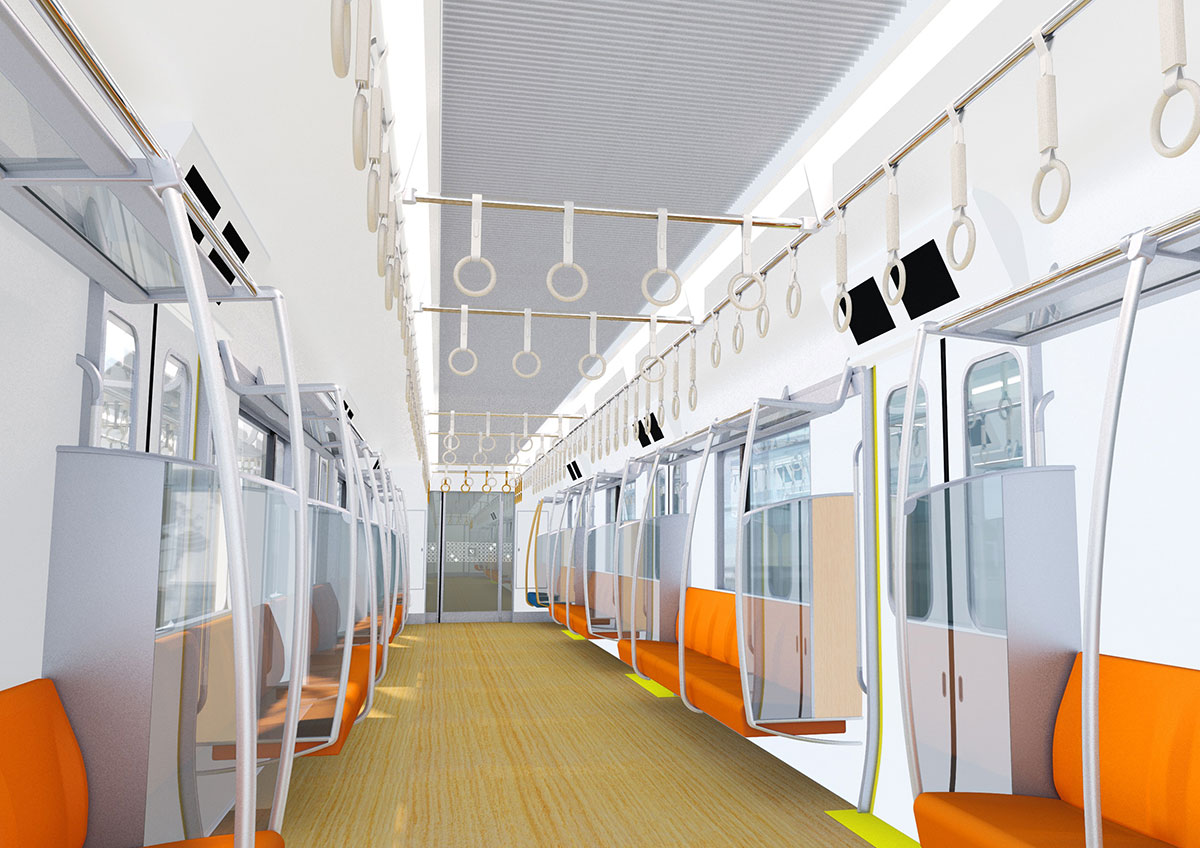新型通勤車両「5000形」車内(イメージ)
