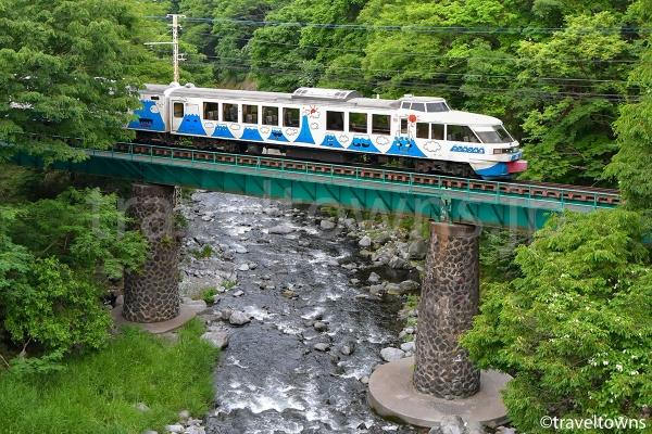 駅近くの橋からは桂川を渡る電車が見られる