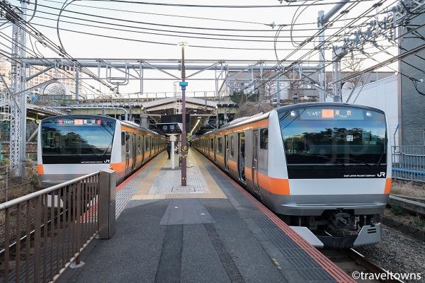 四ツ谷駅で並ぶJR中央線の快速