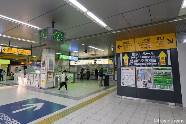 JR山手線・JR京浜東北線から東京モノレールへの乗り換え通路方面