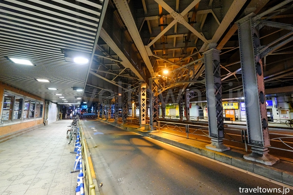 JR神田駅の高架下を通る中央通り