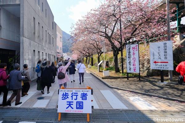桜まつり期間中は駅から川沿いまで歩行者天国になる