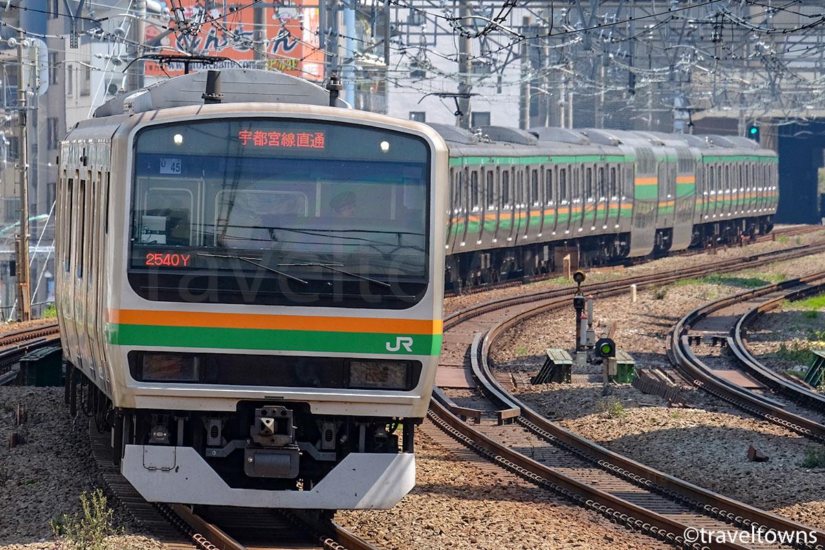 恵比寿~渋谷駅間を走るJR湘南新宿ラインのE231系1000番台