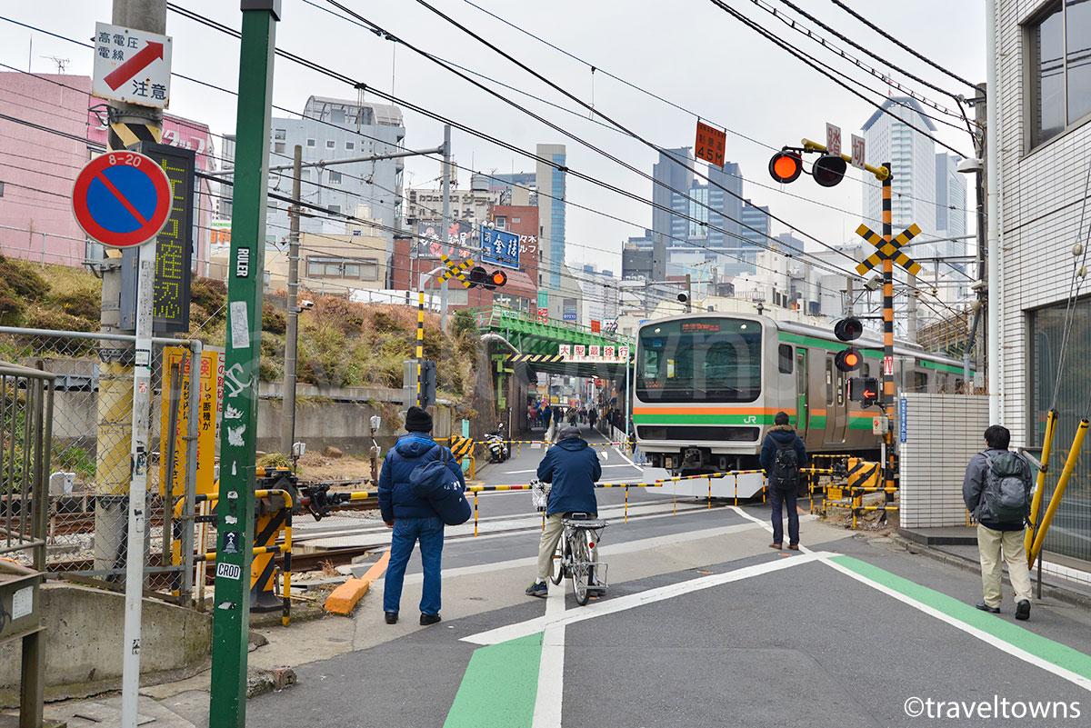 代々木駅近くの青山街道踏切を走る湘南新宿ラインのE233系1000番台