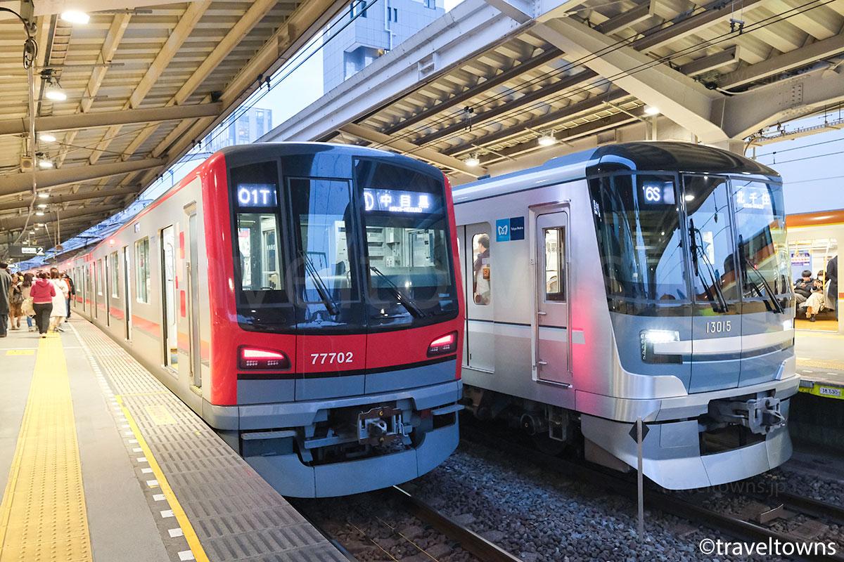 中目黒駅に停車中の東京メトロ日比谷線