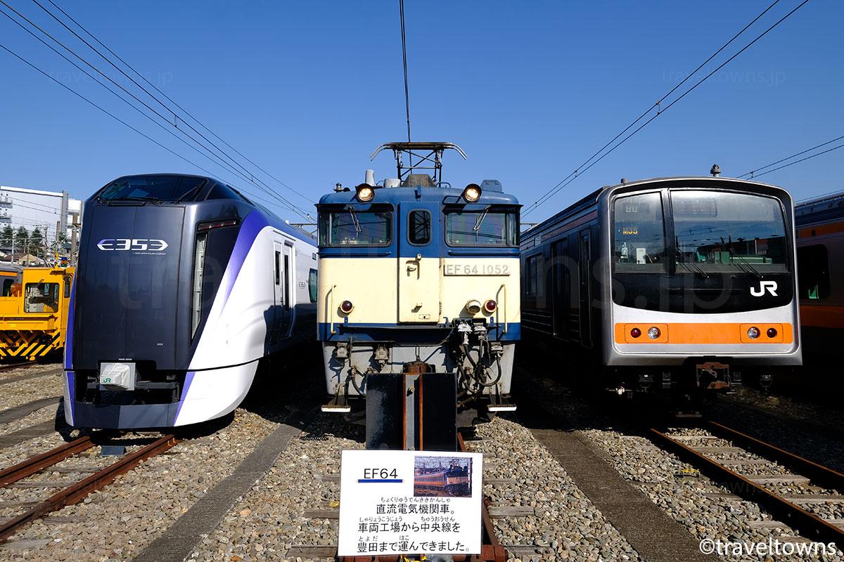 公開イベントで展示されたE353系、EF64、205系