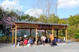 峰温泉大噴湯公園内の足湯処