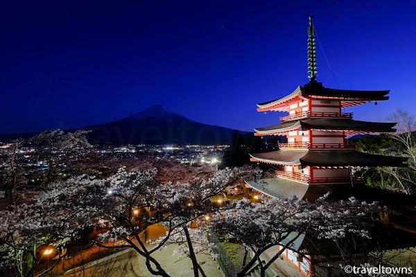新倉山浅間公園の夜桜と富士山