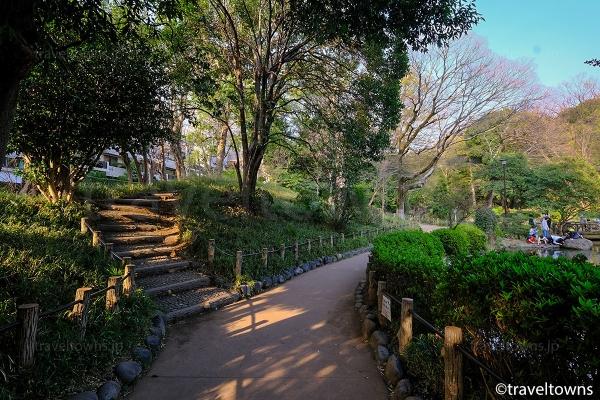 遊歩道をのんびりと散歩できる