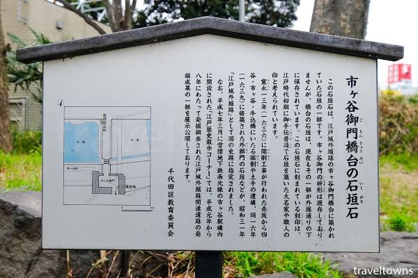 市ヶ谷御門橋台の石垣石の歴史について分かる解説板