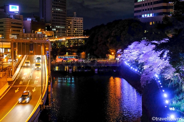 弁慶堀にかかる弁慶橋と首都高速4号新宿線