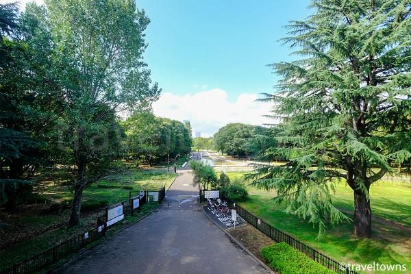 渋谷門にある展望デッキから眺める代々木公園