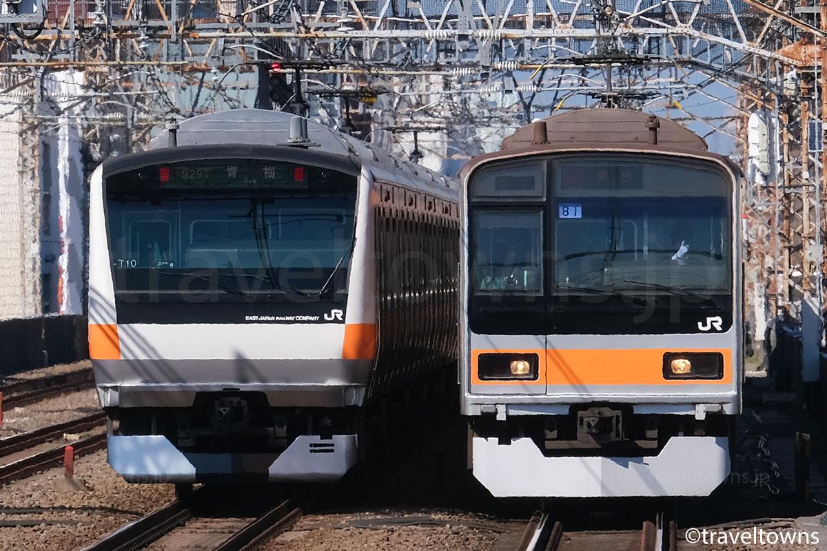 荻窪~阿佐ケ谷駅間を走るJR中央線快速